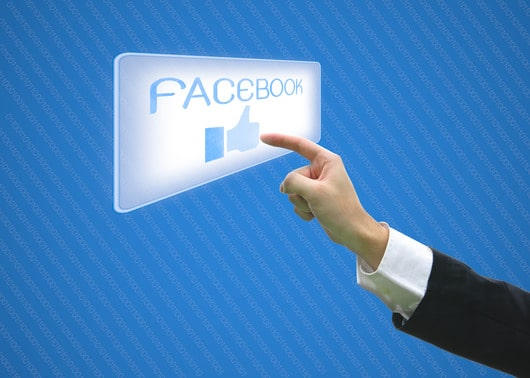 Business pointing facebook like button